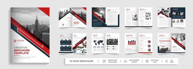Bifold modello di brochure aziendale moderno di 16 pagine profilo aziendale progettazione del rapporto annuale
