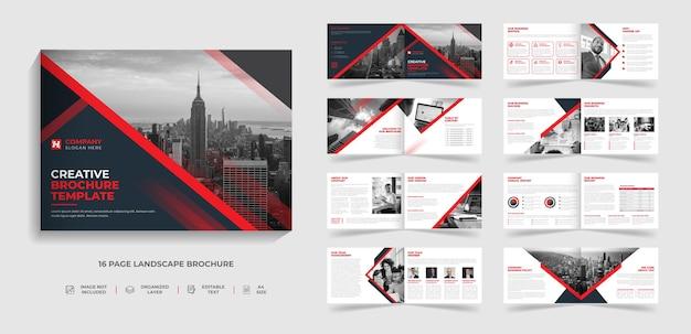 Progettazione del rapporto annuale del modello di brochure del paesaggio moderno aziendale di 16 pagine bifold