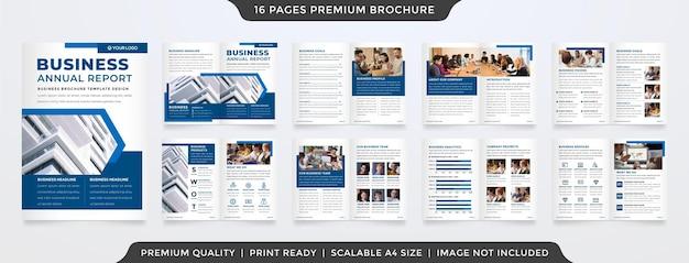 Design del modello di brochure bifold con uno stile pulito e un concetto moderno per la proposta commerciale e la relazione annuale