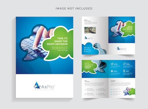Brochure bifold con accento blu verde