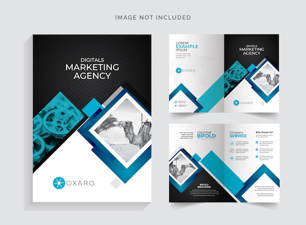 Brochure pieghevole con blu