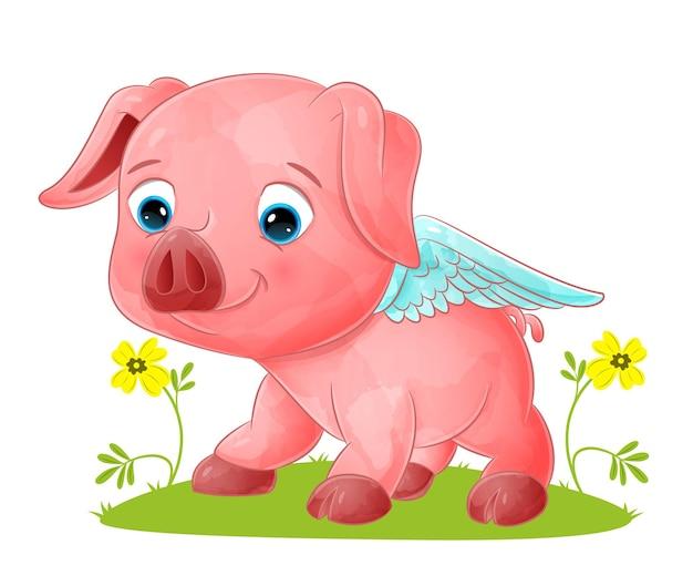 Il grande maiale angelo sta strisciando e posando con il viso carino dell'illustrazione