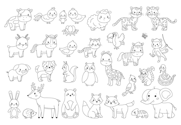 Grandi animali impostati per libro da colorare. illustrazione di contorno per bambini. animali da fattoria, foresta e giungla.