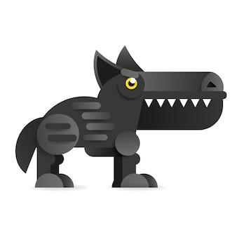 Grande lupo cattivo dei cartoni animati. illustrazione di clip art vettoriale su sfondo bianco