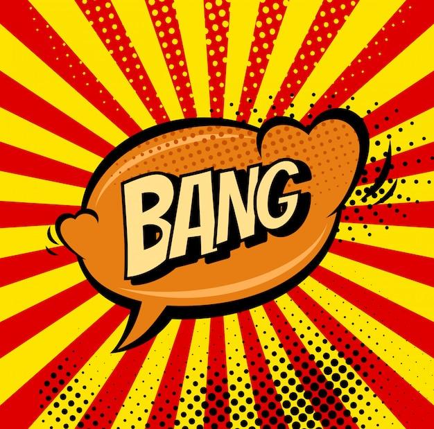 Retro fumetto del segno di big bang