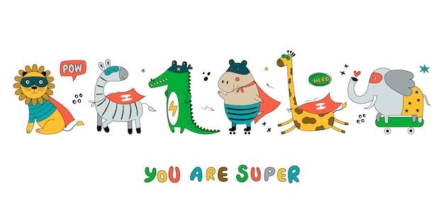 Grande striscione con animali selvatici in costume da fumetto divertente. carino con ippopotamo, tigre, leone, giraffa, elefante, zebra isolato su sfondo bianco.