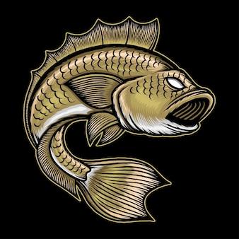 Grande illustrazione di pesce basso. vettore premium