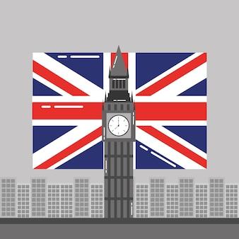 Punto di riferimento della torre delle costruzioni inghilterra e della bandiera di big ben di londra