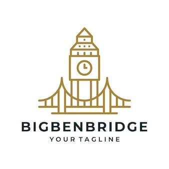 Logo e icona del big ben tower bridge.