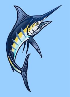 Grande pesce marlin blu