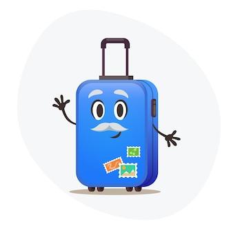 Grande valigia blu su ruote e timbri postali su corpus di plastica in attesa di vacanza