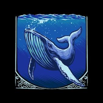 Grande balena blu sull'illustrazione del mare