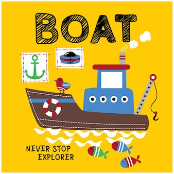 Grande barca nel mare divertente cartone animato