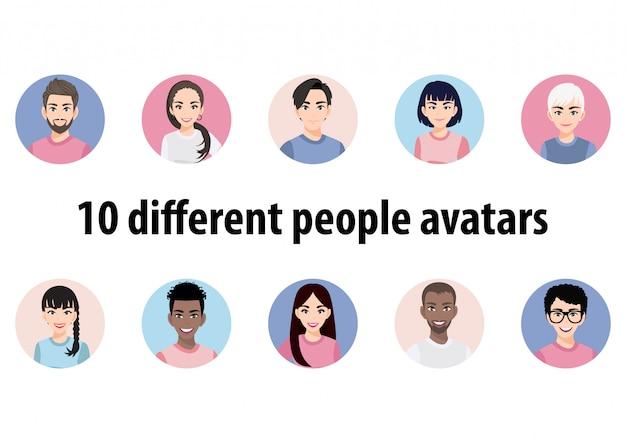 Grande gruppo di avatar di persone diverse. set di ritratti maschili e femminili. personaggi di avatar di uomini e donne. 449