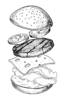Schizzo realistico dell'illustrazione disegnata a mano di vettore dell'hamburger grande hamburger ingredienti dell'hamburger con carne