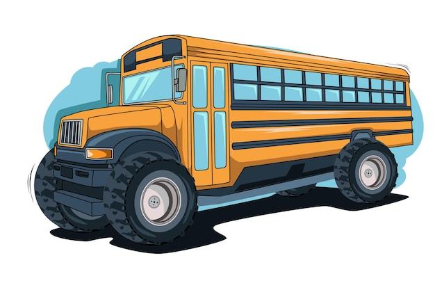Grande bus mostri disegno a mano illustrazione disegno a mano