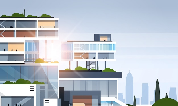 Edificio per uffici corporativi cutaway grande centro business