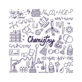 Grande striscione di chimica con scritte oggetti disegnati a mano associati alla chimica