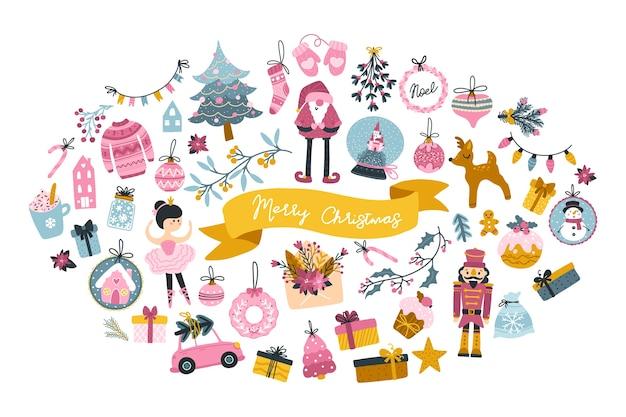 Biglietto di auguri natalizio grande con simpatici personaggi ed elementi festivi a forma di ovale, in stile scandinavo infantile disegnato a mano con scritte. tavolozza pastello.