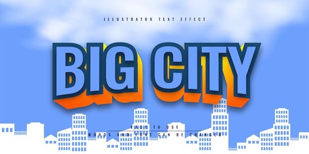Progettazione del modello di effetto testo 3d modificabile di big city illustrator