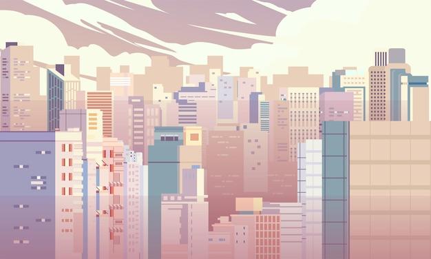 Illustrazione del paesaggio di una grande città con molti appartamenti di edifici per uffici e altri edifici