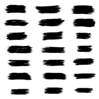 Grande collezione di vernice nera, pennellate di inchiostro, pennelli, linee, grungy. trama sporca di emergenza