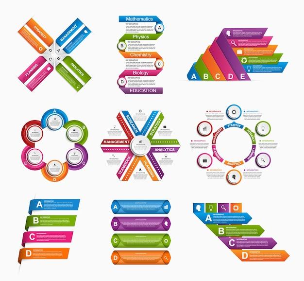 Grande collezione di infografiche colorate.