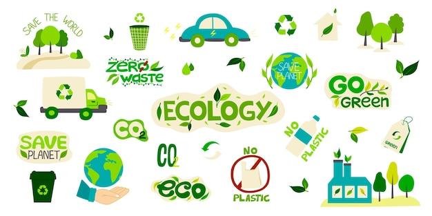 Grande collezione di adesivi ambientali con le parole zero rifiuti, ecologia, salva il pianeta, eco, riciclaggio, niente plastica.