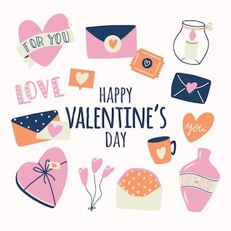 Grande collezione di oggetti d'amore e simboli per il giorno di san valentino felice. illustrazione piatta colorata.