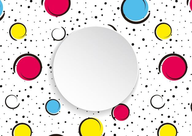 Grandi macchie e cerchi colorati su bianco con punti neri e linee di inchiostro.