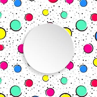 Grandi punti colorati e cerchi con punti neri e linee di inchiostro.