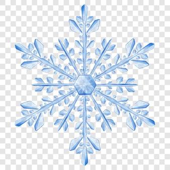 Grande e complesso fiocco di neve di natale traslucido nei colori blu per l'uso su sfondo chiaro