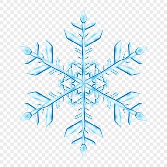 Grande e complesso fiocco di neve di natale traslucido in colori blu chiaro, isolato su sfondo trasparente. trasparenza solo in formato vettoriale