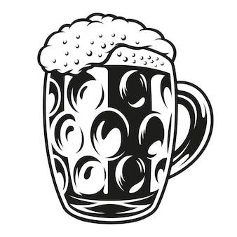 Grande tazza di birra isolato su un bianco