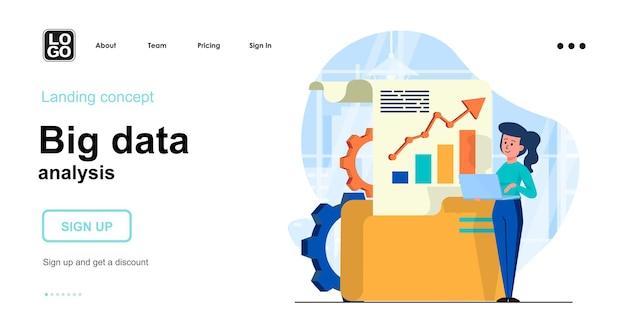 Concetto di design piatto di analisi di big data