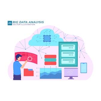 Grafico dell'illustrazione piatta dell'analisi dei big data digitale