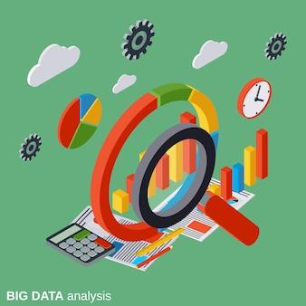 Illustrazione isometrica piana di concetto di vettore di analisi di grandi dati