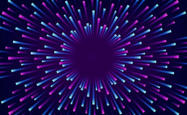 Big data analisi gradiente neon viola ciano blu burst flare wave energia radiale. tecnologia moderna retrò con sfondo scuro