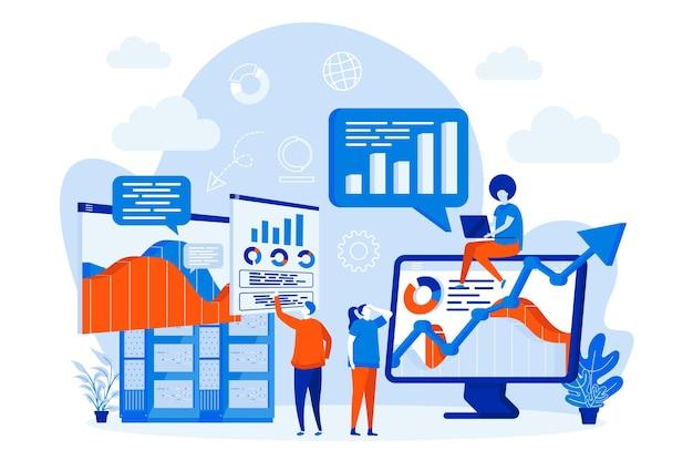 Web design di analisi di grandi quantità di dati con illustrazione di caratteri di persone