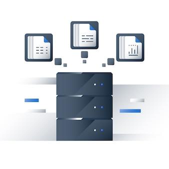 Analisi di big data, raccolta ed elaborazione di informazioni, grafico di report, server di dati