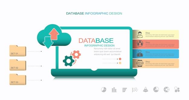 Big data e banner di cloud computing con icone stock illustrazione dati cloud computing