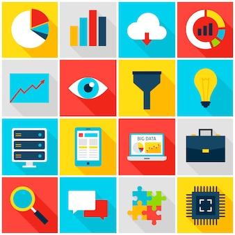 Icone colorate di grandi dati. illustrazione di vettore. set di analisi aziendale di elementi rettangolari piatti con ombra lunga.