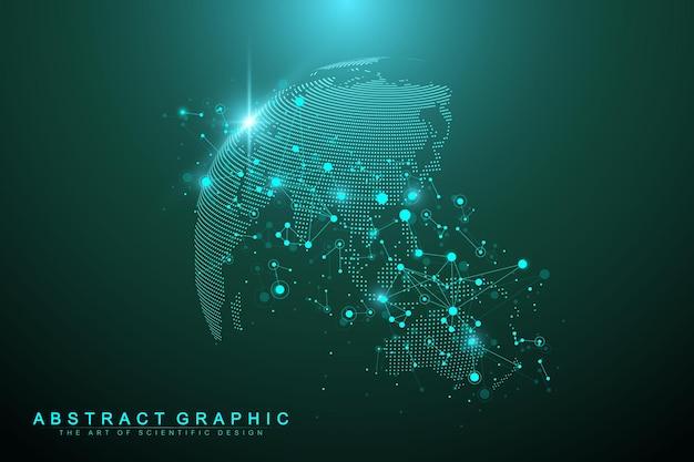 Globo del mondo complesso di grandi dati. comunicazione grafica di sfondo astratto. contesto prospettico di profondità. array minimo virtuale con composti. visualizzazione dei dati digitali. illustrazione vettoriale grandi dati.