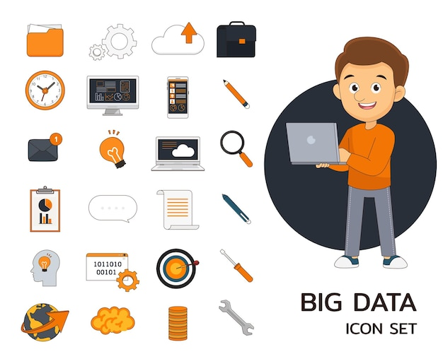 Icone piatte di concetto di big data