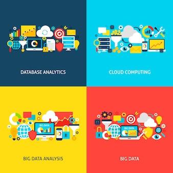Concetti di big data. illustrazione vettoriale di design piatto. raccolta di poster di analisi aziendale.