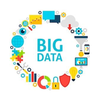 Cerchio piatto di grandi dati. insieme di oggetti di analisi aziendale su bianco.