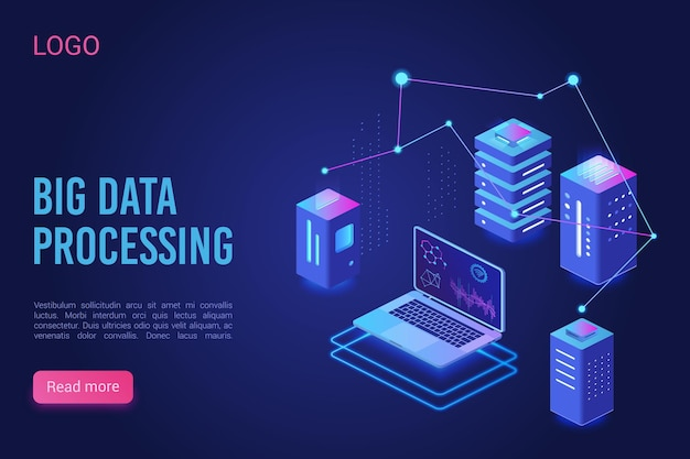 Analisi dell'elaborazione di big data, server di dati analitici modello al neon di landing page lisometrica
