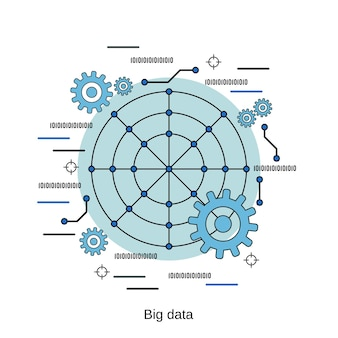 Illustrazione di concetto di vettore di stile di design piatto di elaborazione dati di grandi dimensioni