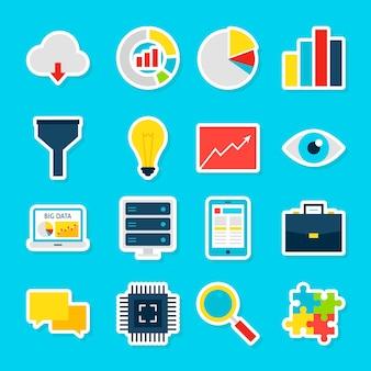 Adesivi per grandi dati. stile piano dell'illustrazione di vettore. raccolta di simboli di analisi aziendale.