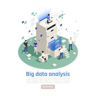Le soluzioni di archiviazione di big data analizzano la composizione isometrica circolare della tecnologia moderna con analisi ed elaborazione interattive